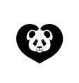 silhouette of face of panda paws shows sign heart vector image