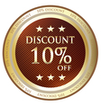 Ten Percent Discount Label vector image vector image