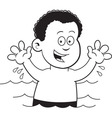 Cartoon boy swimming vector image