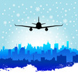 city with airplane vector image vector image