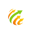 arrow sphere technology logo vector image vector image