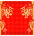 frame red dragon gold-colored sticker 2 vector image