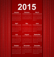 Red creative calendar 2015 year vector image