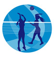 volleyball player spiking hitting ball vector image