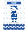 Card cute retro pirate cat sea vector image