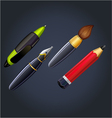 set of drawing and painting tools pen ink pencil vector image