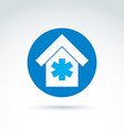 building placed in a circle simple hospital vector image