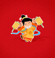 Chinese girl celebrating Chinese New Year vector image