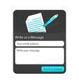 Dark contact us form with light document and blue vector image
