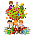 funny children with green apple tree full of red a vector image