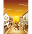 A boy riding in a horse outside the saloon vector image vector image