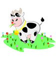 cartoon cow and rural meadow with green grass vector image
