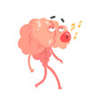 humanized cartoon brain character walking and vector image