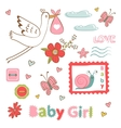 Colorful collection of baby girlannouncement vector image