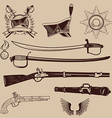 A collection of ancient weapons hussar caps and vector image