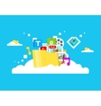 Cloud storage folder with files of different vector image