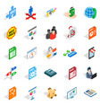 data storage icons set isometric style vector image