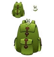 Green rucksack with a cute grin vector image