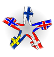 Peace Sign of Scandinavian flags vector image