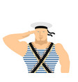 sailor in striped vest and peakless cap february vector image