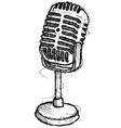 scribble series - vintage microphone vector image