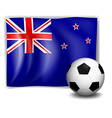 The flag of New Zealand with a soccer ball vector image vector image