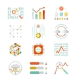 Data analytic silhouette icons vector image vector image