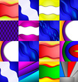 Set of sixteen different and colorful abstract vector image