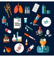 Medical flat icons with medication and diagnostics vector image