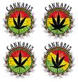 Cannabis leaf design jamaican flag background vector image
