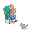 grandfather with cat vector image