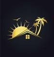 Hotel house tropic sunset gold logo vector image