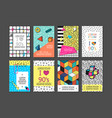 memphis cards with geometric elements vector image