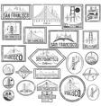 Set grunge badges with San Francisco skyline vector image