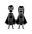 silhouette black front view superhero woman and vector image