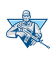American Soldier Assault Rifle Retro vector image