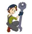 cartoon image of mechanic woman vector image