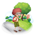 A boy walking at the street carrying a backpack vector image