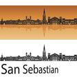 San Sebastian skyline in orange background in vector image vector image