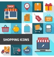Shopping square icons set vector image