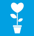 heart flower in a pot icon white vector image