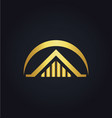 house building gold logo vector image