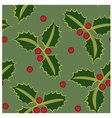 Seamless pattern holly green vector image