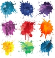 Colorful Abstract ink paint splats vector image