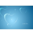 Shiny hearts on blue background vector image vector image