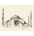 Istanbul Turkey Hagia Sophia Engraved Sketch vector image