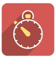 Stopwatch Flat Rounded Square Icon with Long vector image