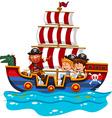 Children riding on viking ship at sea vector image