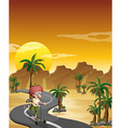 A boy riding with his scooter at the road in the vector image