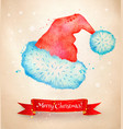 christmas vintage postcard with santa hat vector image